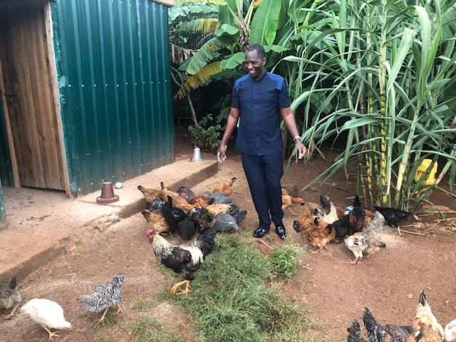 Pastor Jasper tending to the chicks